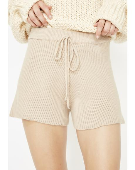 Latte Sweater Weather Knit Shorts