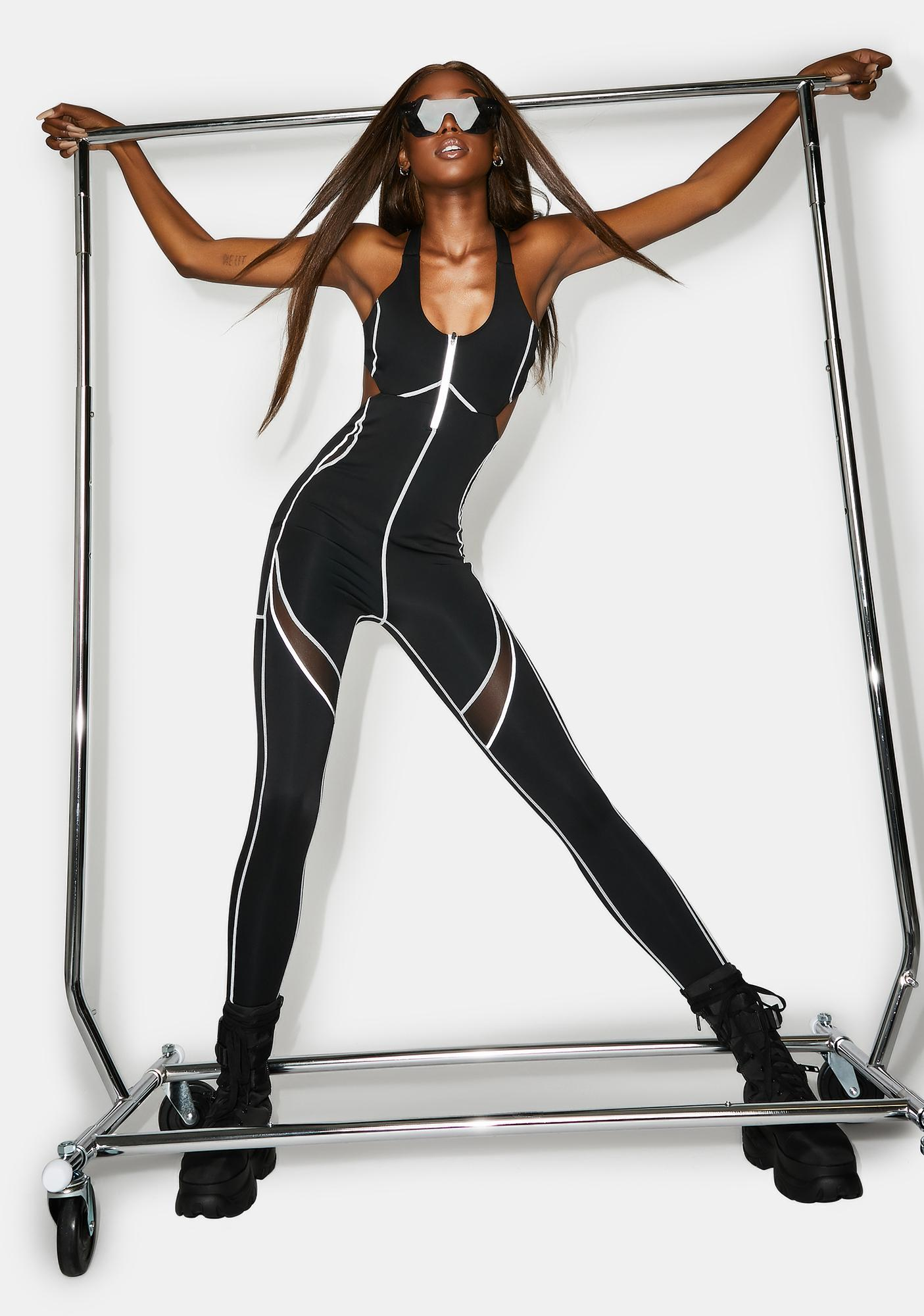 Poster Grl No Time To Wait Reflective Catsuit
