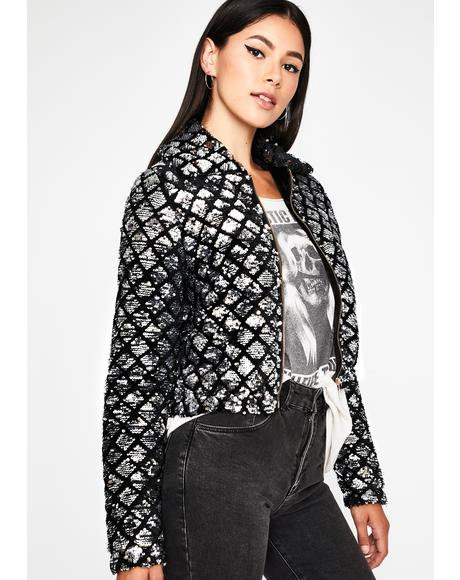 Disco Urban Glam Sequin Puffer Jacket