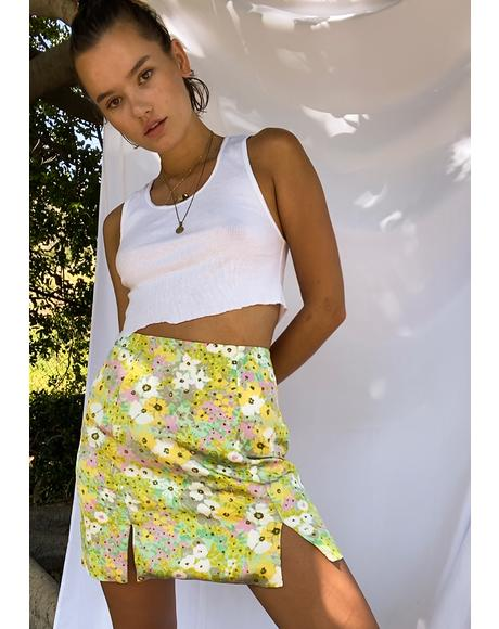 Green Pink Floral Mini Skirt