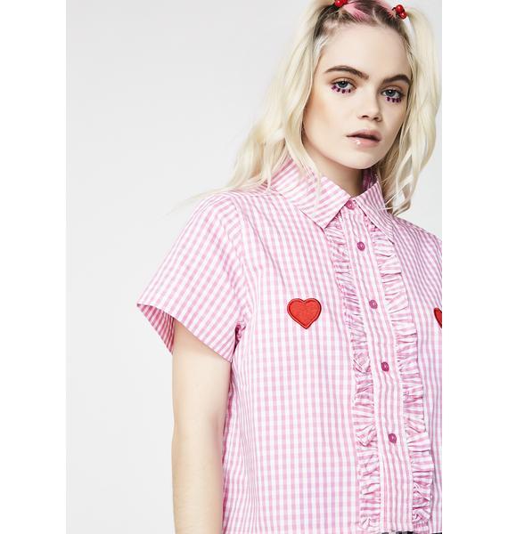Lazy Oaf I Heart Gingham Shirt