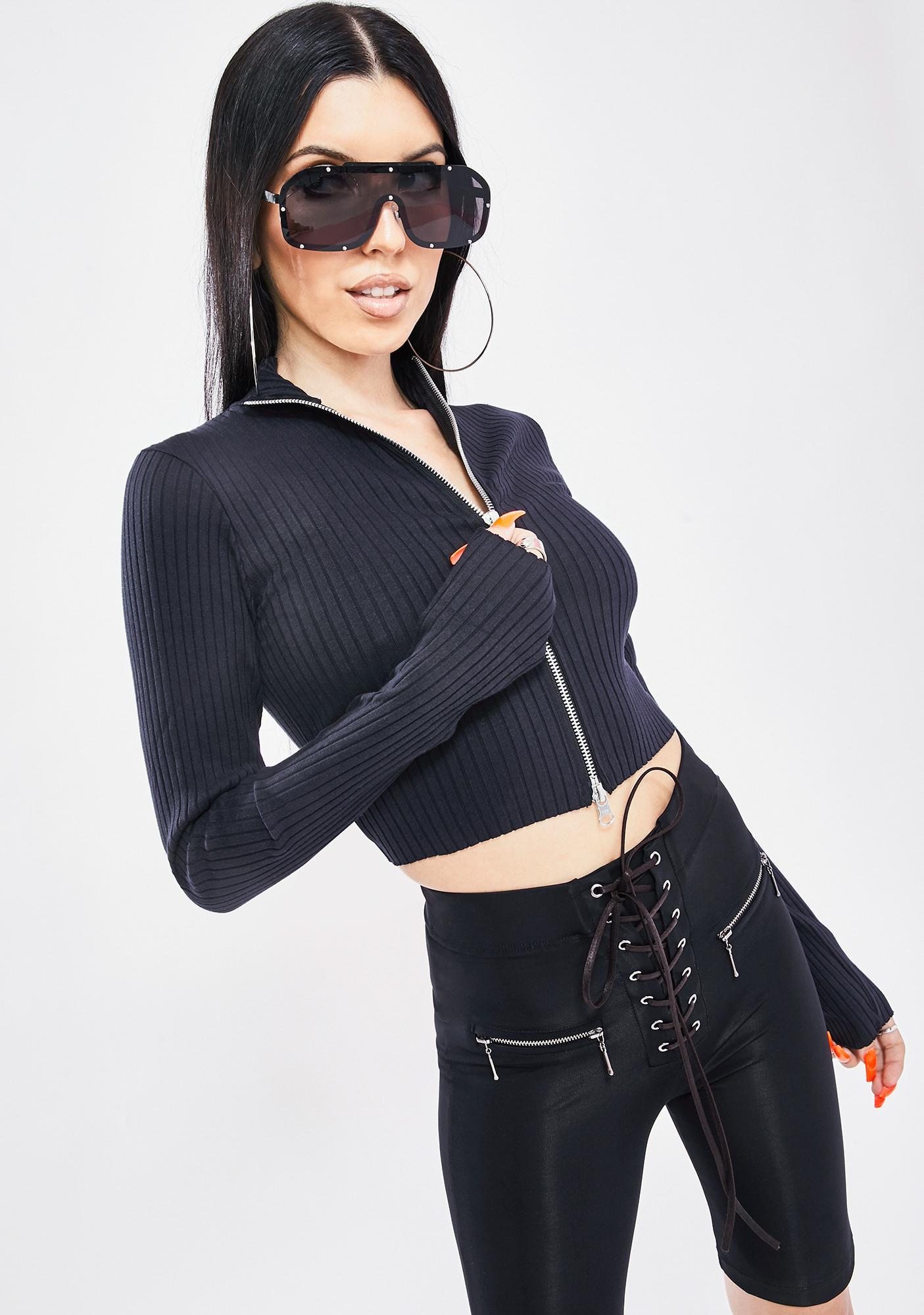 BDG Double Zip Knit Top