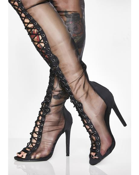 Lustful Envy Lace Up Boots