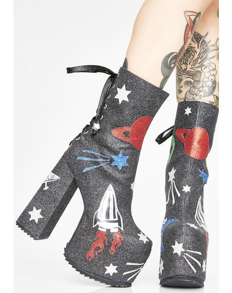 Space Invasion Platform Boots