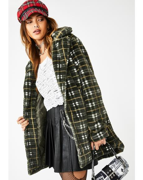 Grunge Plaid Faux Fur Coat