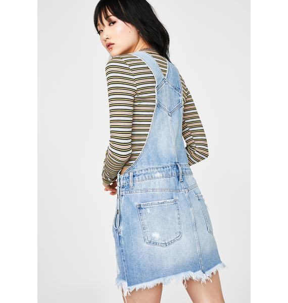 Hidden Denim Classic Wash Frayed Hem Pinafore