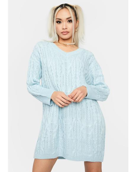 Sky Cuddle Weather Sweater Dress