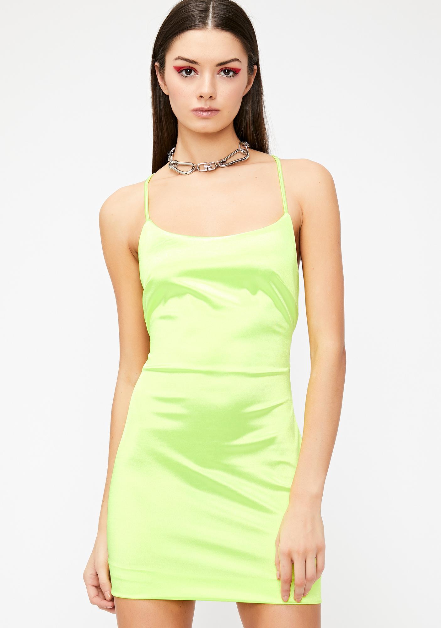 7b60c32e02b7 Green Stretch Satin Mini Dress