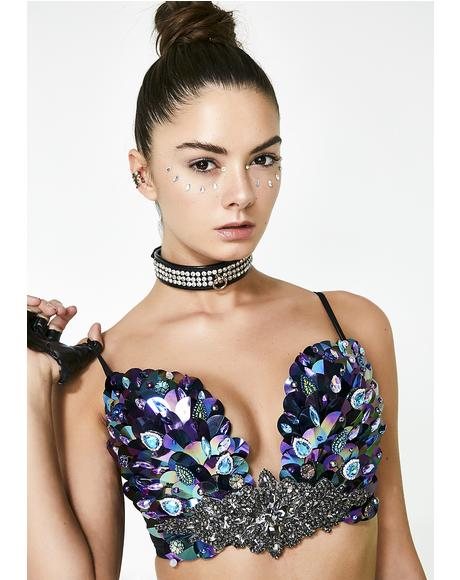 Dark Mermaid Holographic Rave Bra