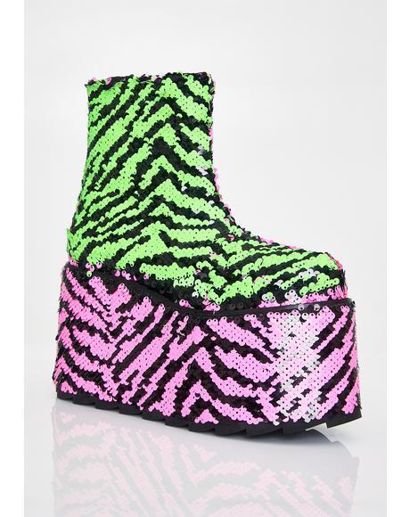 Qomet Zebra Flip Sequin Platform Boots