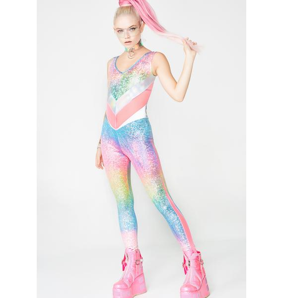 Burnt Soul Holographic Rainbow Jewel Reversible Catsuit