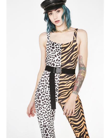 Half Tiger Half Snow Leopard Catsuit