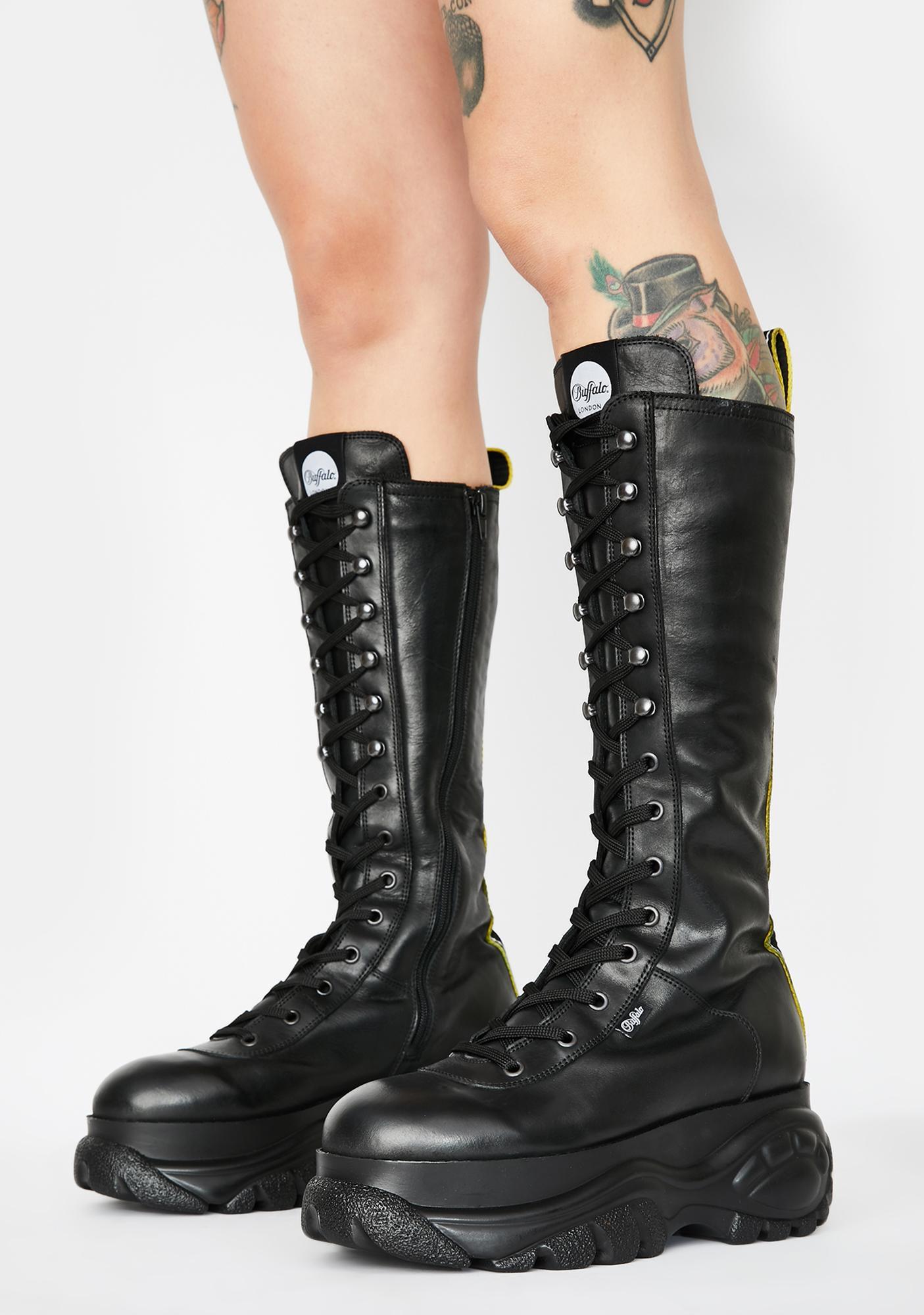 Buffalo London Gill Leather Knee High Platform Boots