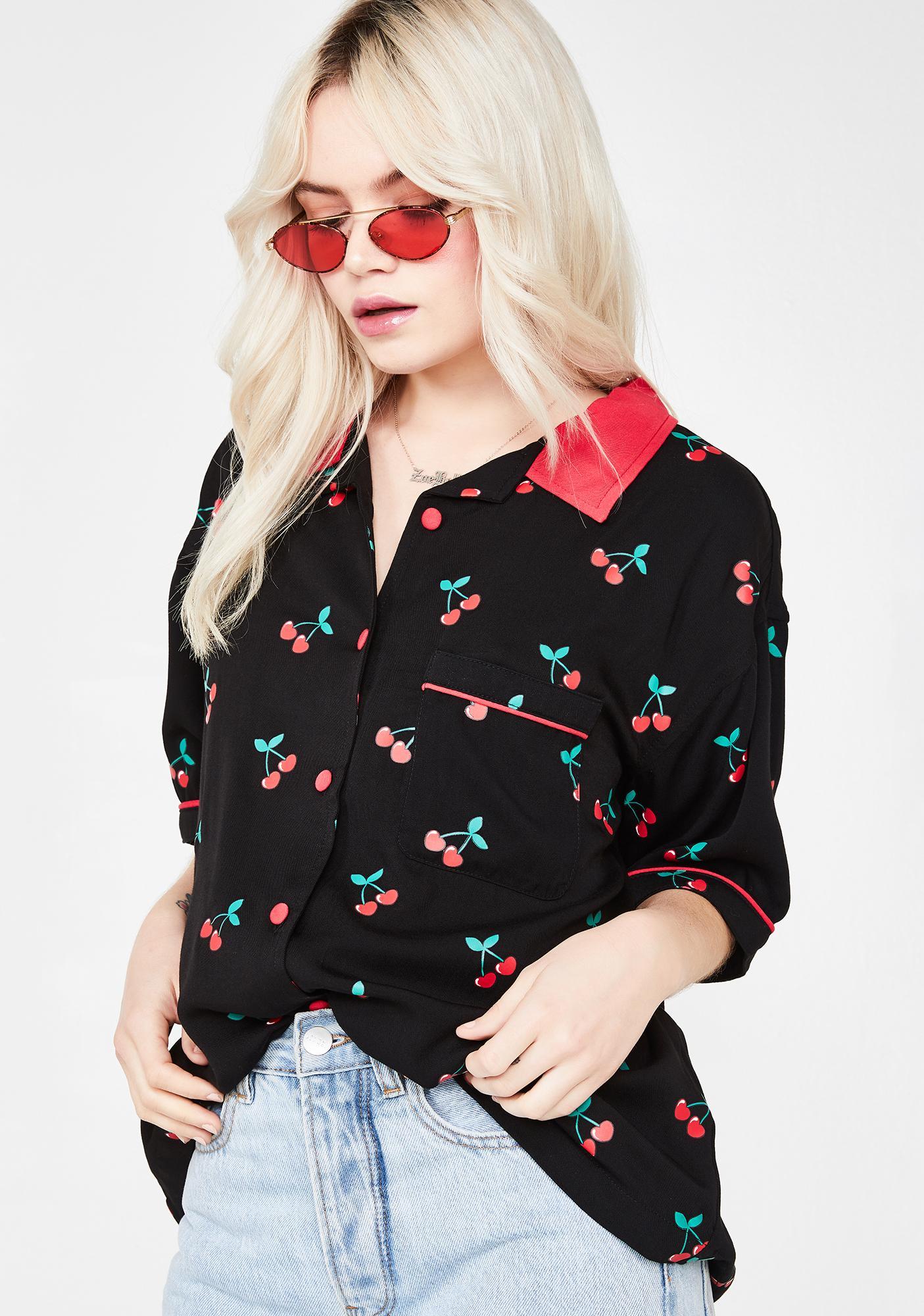 Lazy Oaf Cherry Bowling Shirt