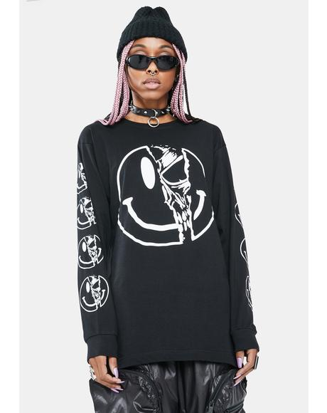 Killer Smiley Long Sleeve Graphic Tee