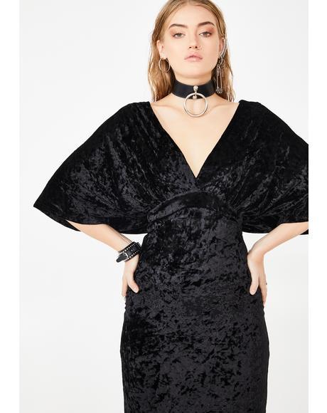 Kimono Sleeve Velvet Maxi Dress