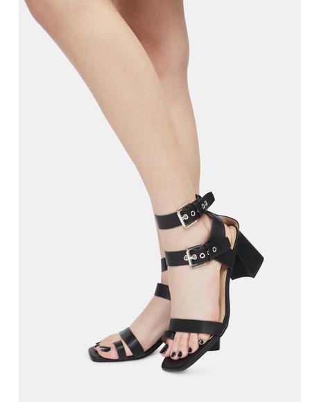 Noir Match My Pace Sandal Heels