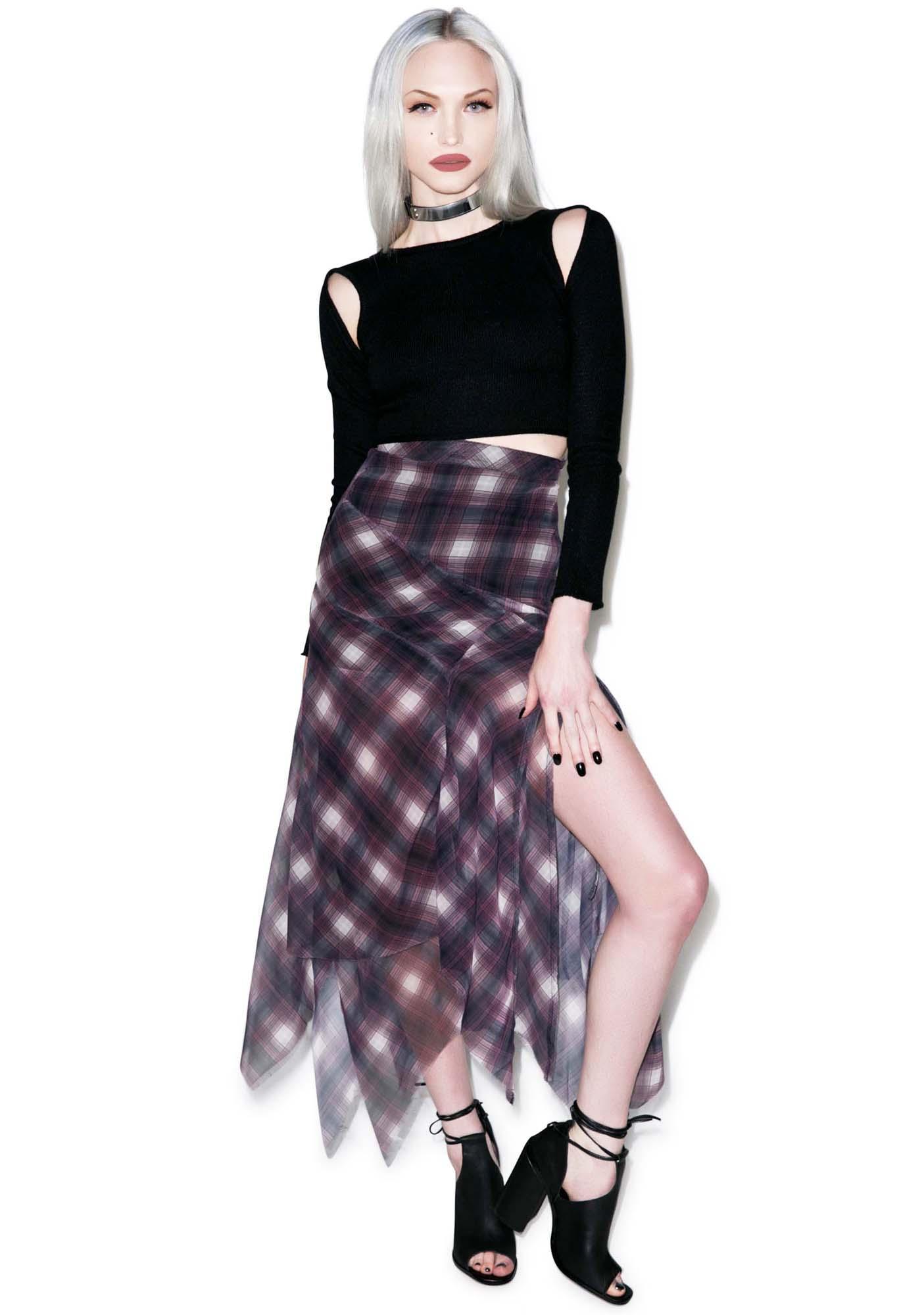 UNIF Riff Plaid Chiffon Skirt