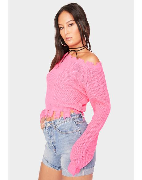 Pink Cropped Deconstructed Wide Neck Sweater