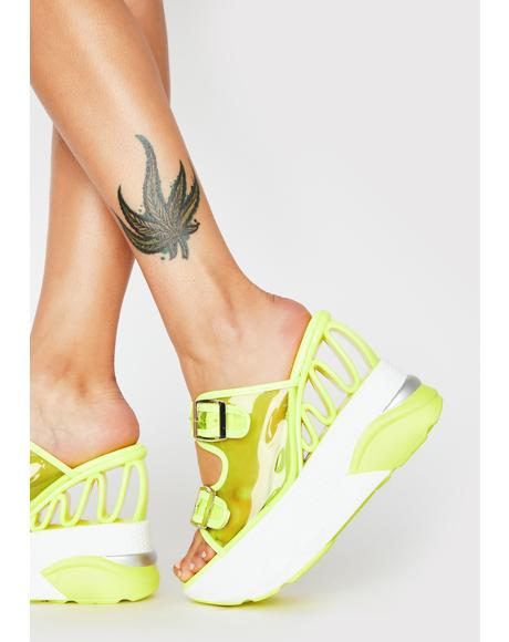 Lime Element Action Sneaker Heels