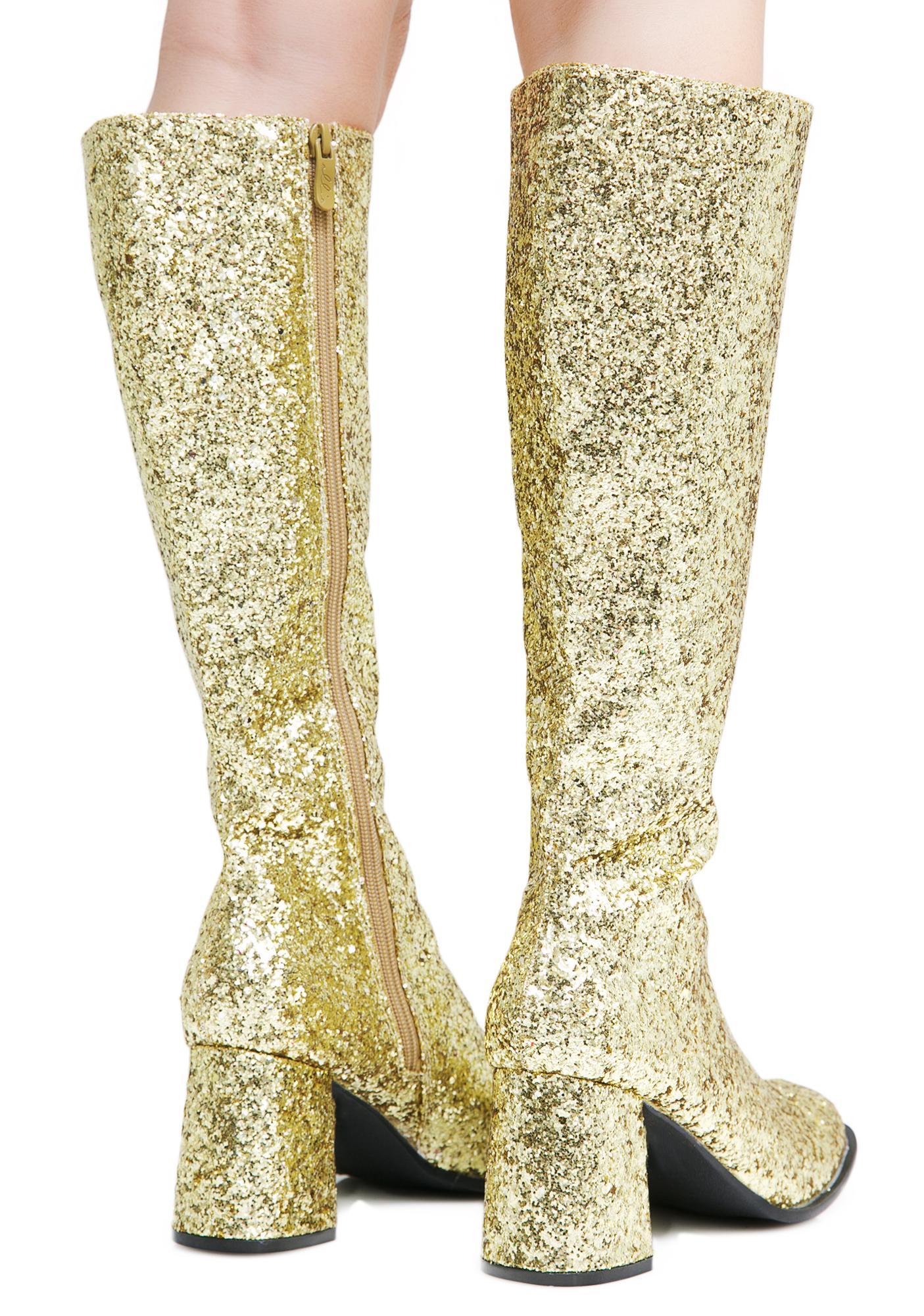 Golden Go-Go Baby Glitter Boots