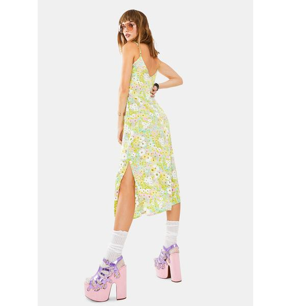 Glamorous Green Floral Midi Dress