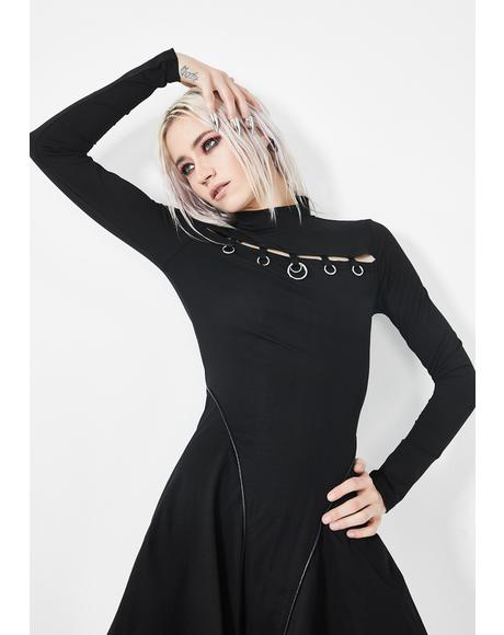 O-Ring Turtleneck Circle Dress