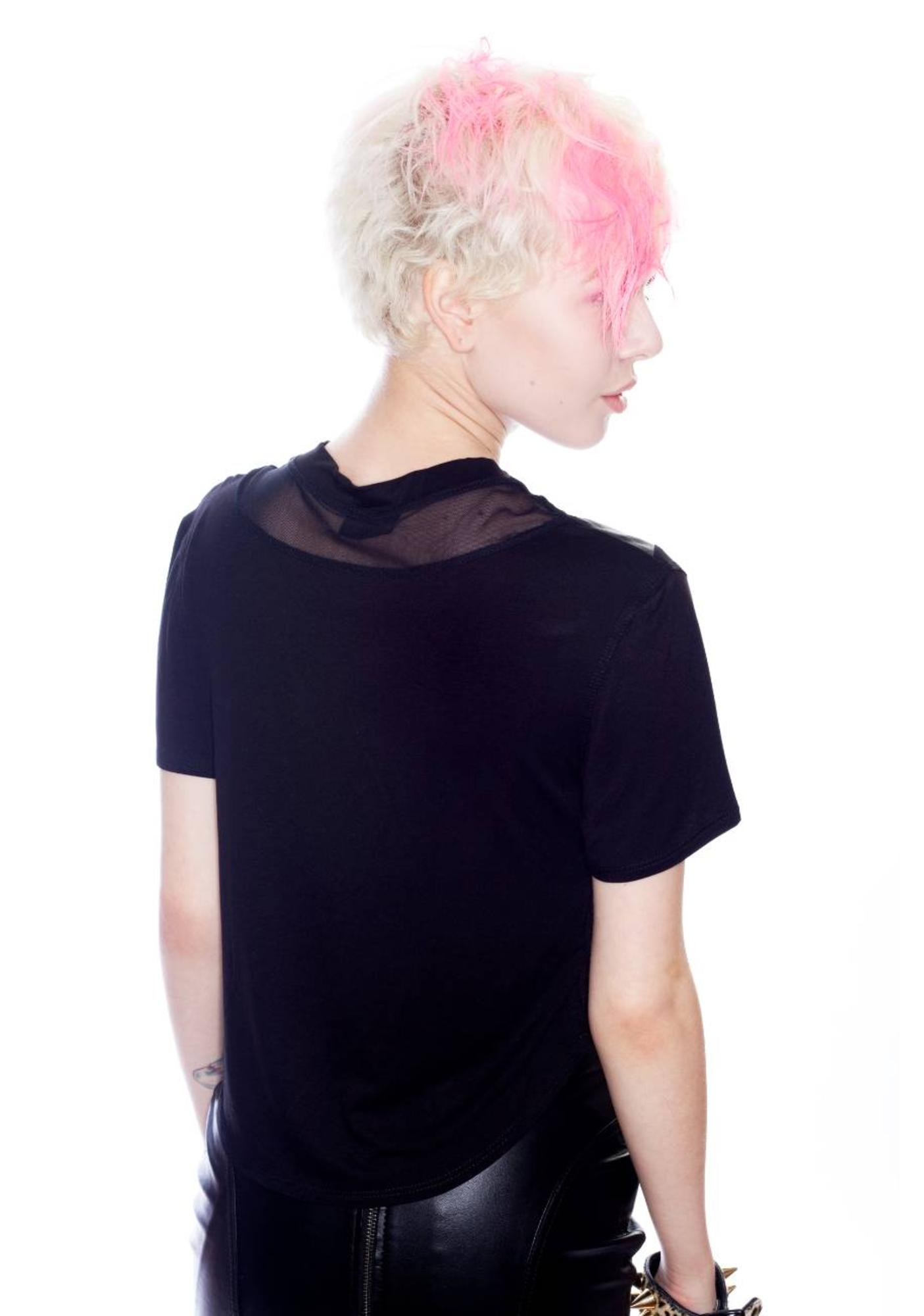 Coveted Society Arrow Paneled Leather Top