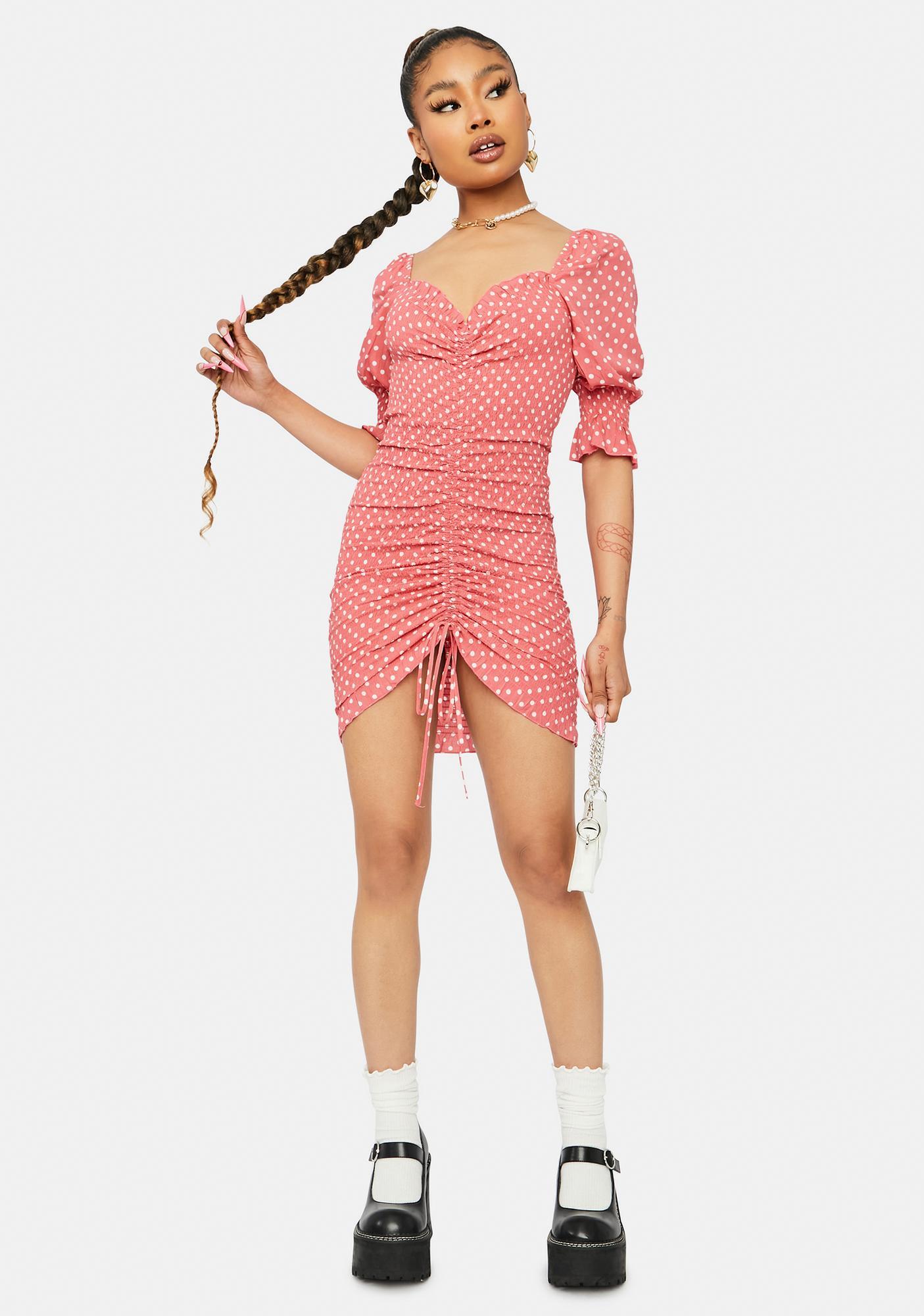 Coral Sweet As Ever Polka Dot Puff Sleeve Dress