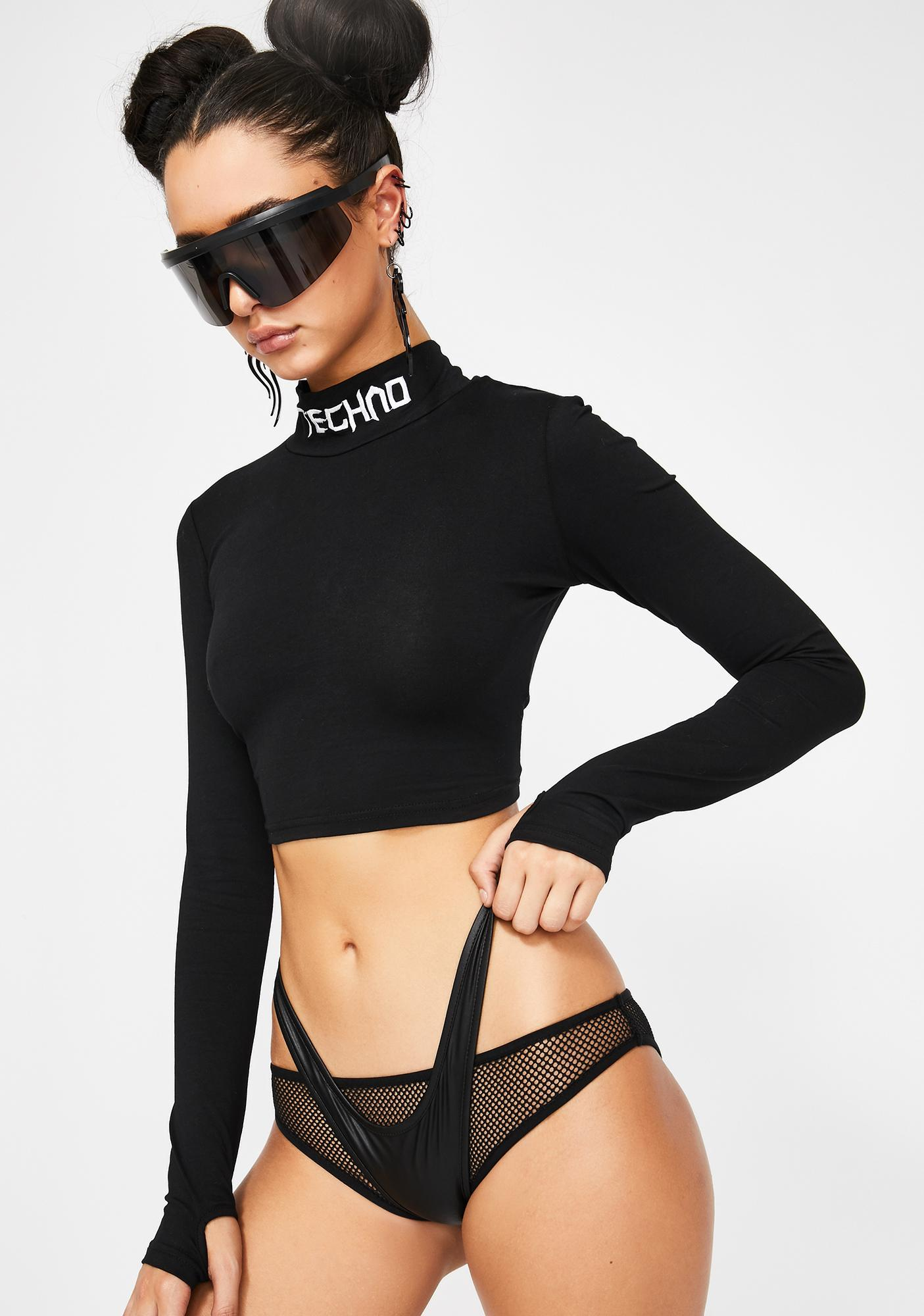 Club Exx Techno Snob Mock Neck Top