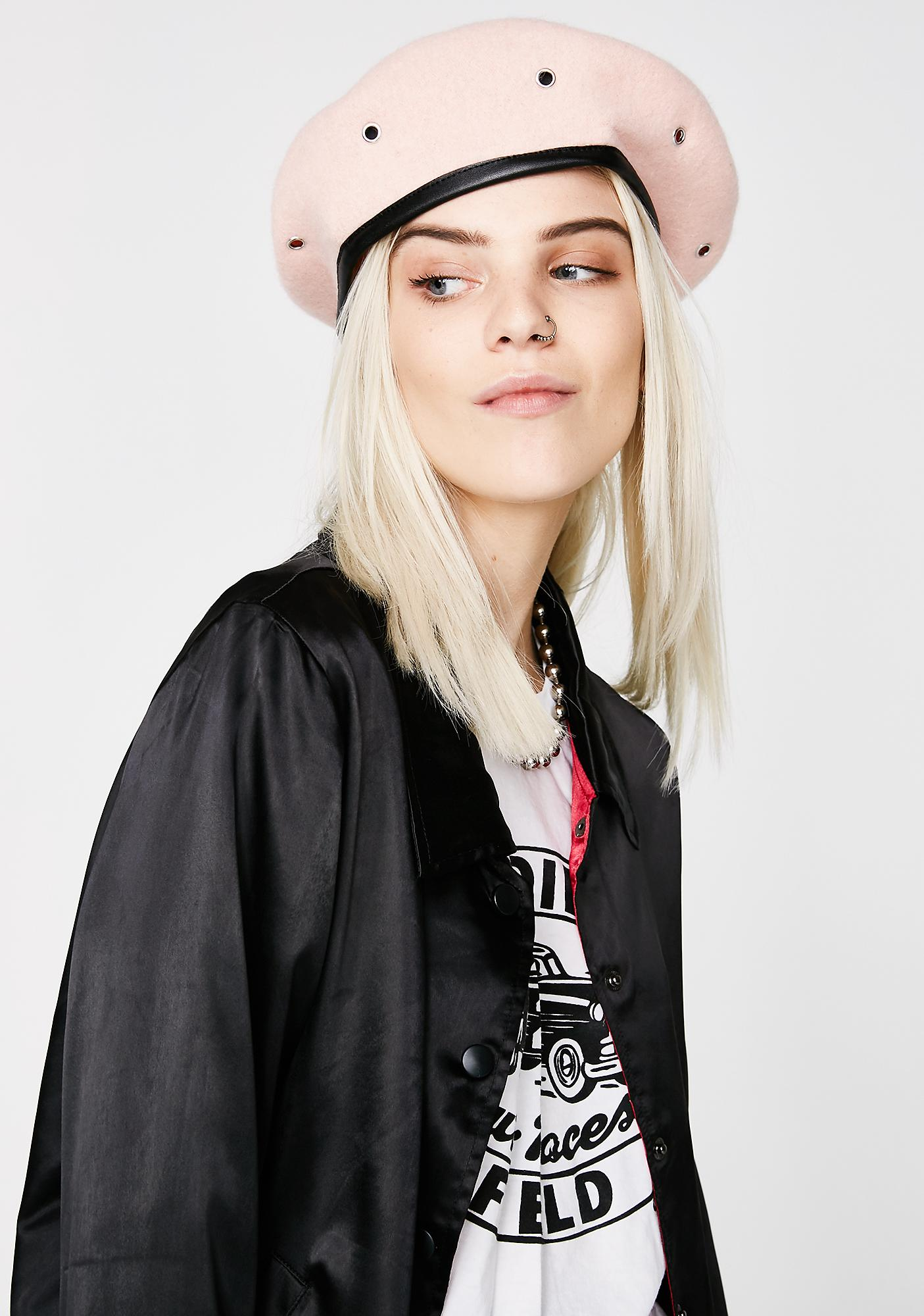 Valfré Dusty Pink Military Stud Beret