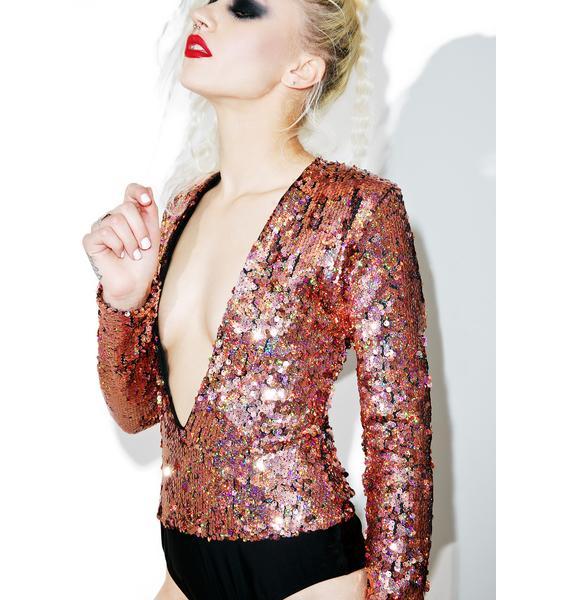 Jaded London Plunge Neck Long Sleeve Sequin Bodysuit