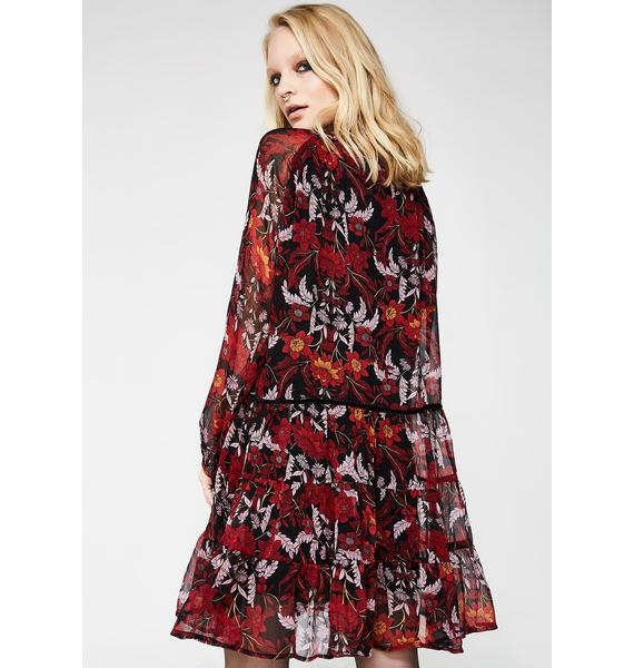 Glamorous Winter Flower Mini Dress