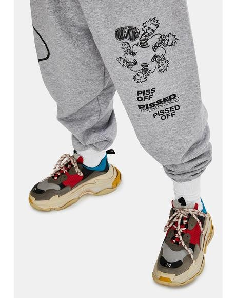 Grey Pissed Graphic Sweatpants