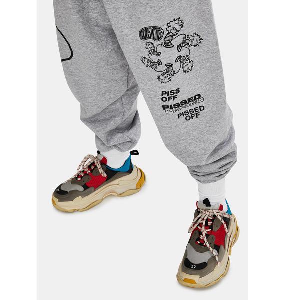 MOODSWINGS Grey Pissed Graphic Sweatpants