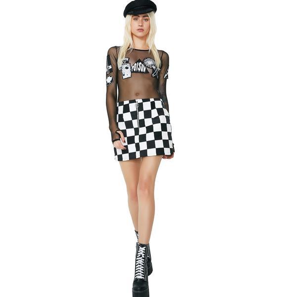 American Vintage Checkered Denim Skirt