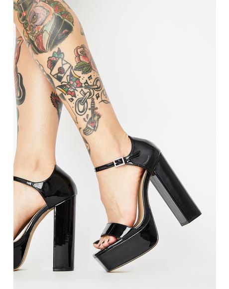 Noir Babydoll Bubble Platform Heels