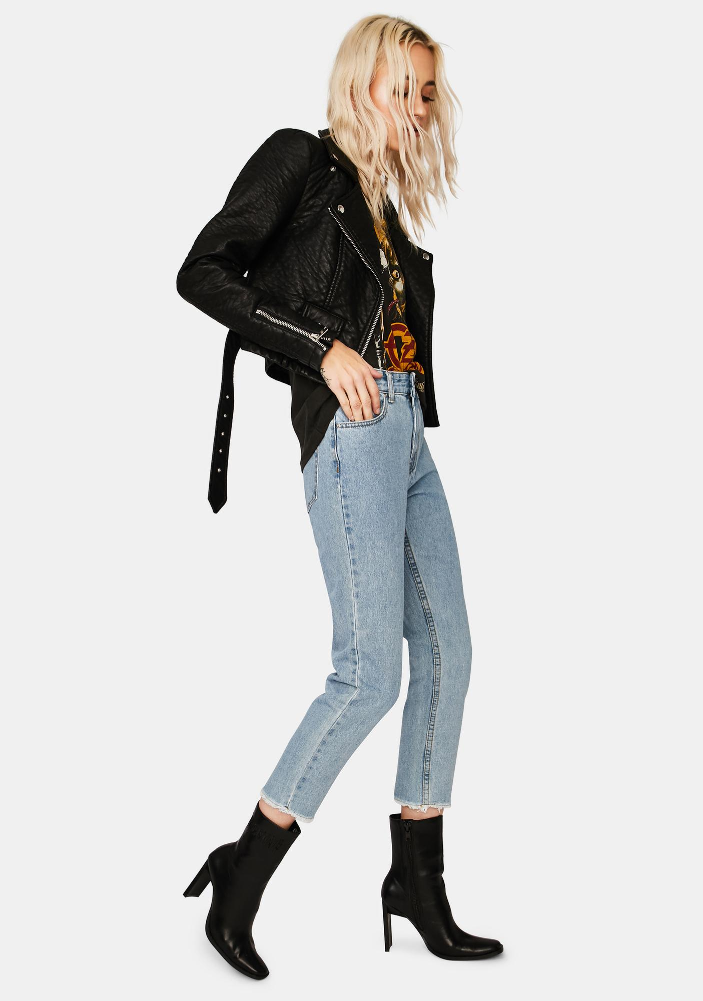 Momokrom Mid Wash High Rise Mom Jeans