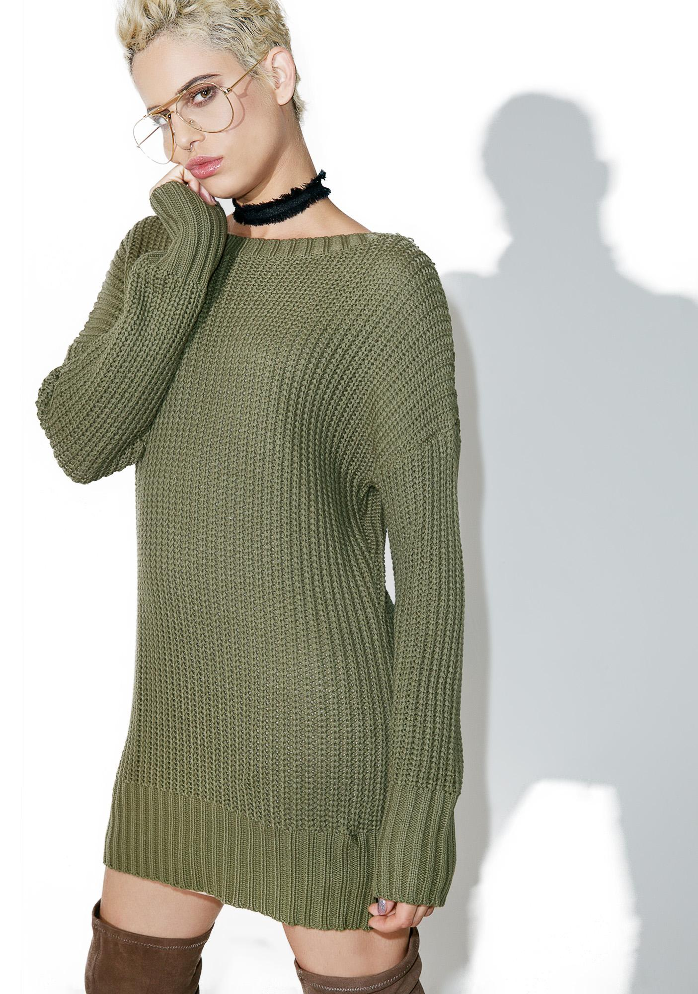 Green Knit Back Lace Up Sweater  8508f8b90