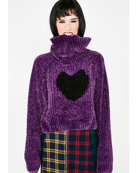 Black Heart Roll Neck Jumper