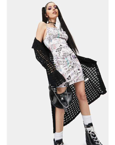 Scribble Cowl Neck Dress