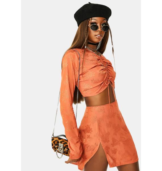 Motel Satin Rose Copper Shenka Mini Skirt