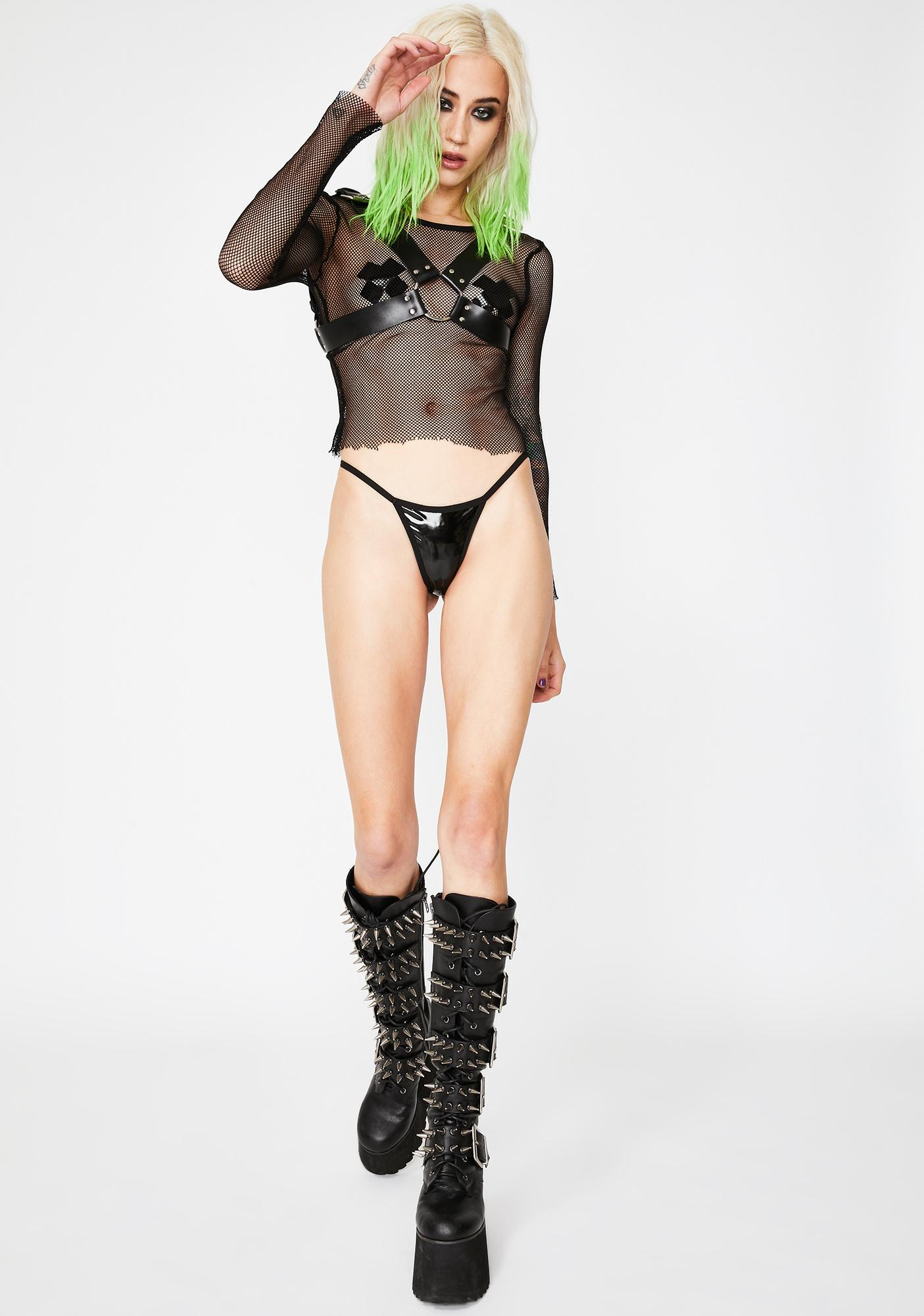 Neva Nude Black Cross Pasties N' Thong Set