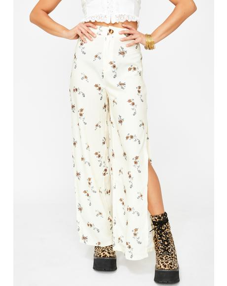 Side Slit White Floral Trousers