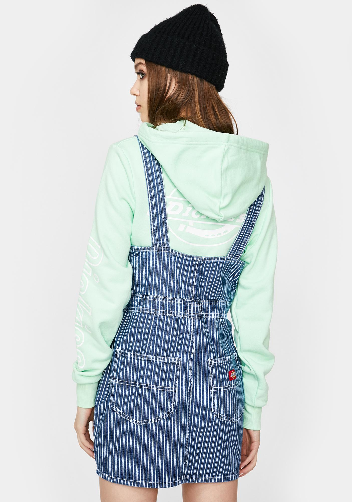 Dickies Girl Denim Striped Zip Up Overall Dress