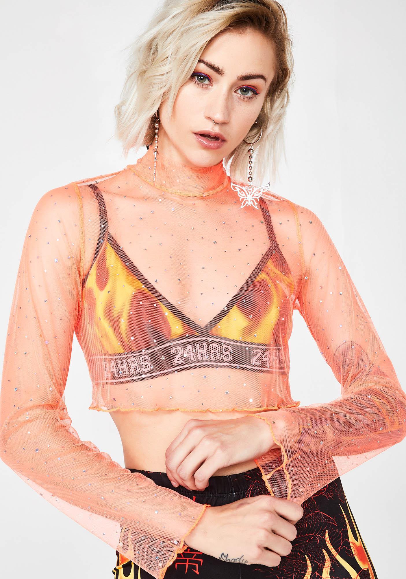 Jaded London Neon Orange Diamante Mesh Long Sleeve Crop Top