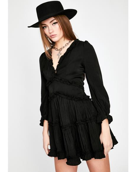 Midnight Runaway Roadie Ruffle Dress
