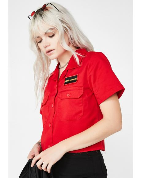 Fire Cropped Work Shirt