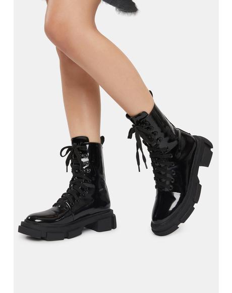 Wicked Revenge Patent Combat Boots