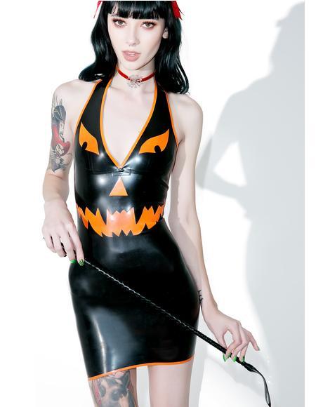 Pumpkin Halter Neck Mini Dress